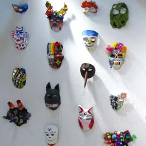 Wall of masks made by the students