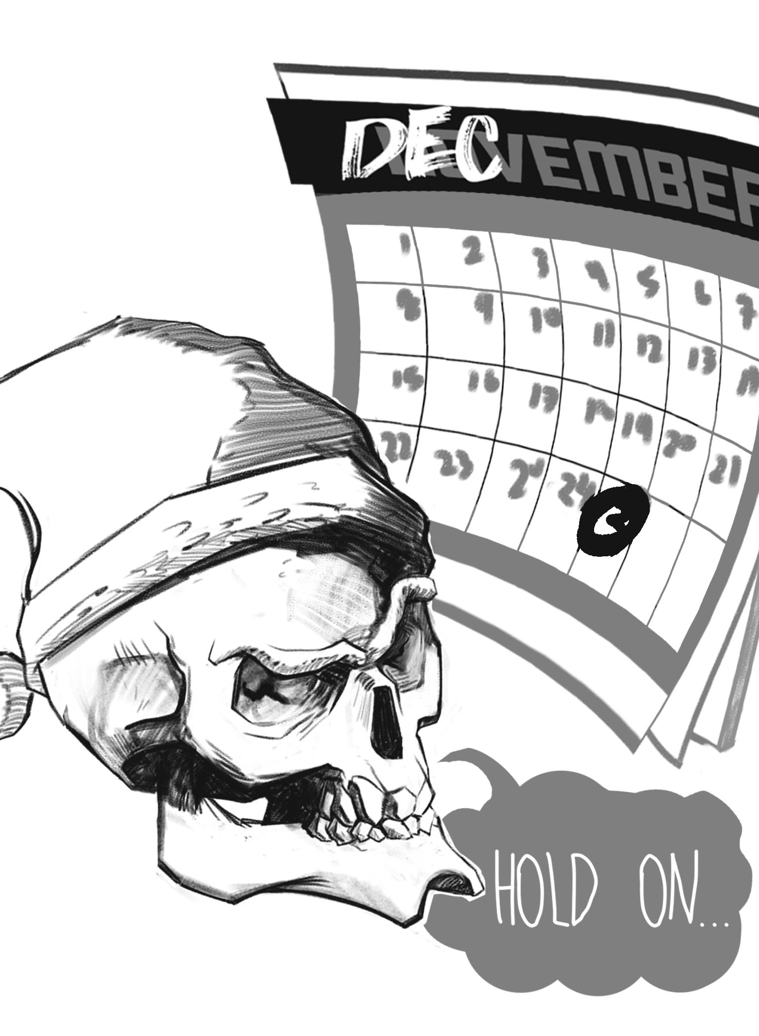 A skull with a Santa hat, looking at a calendar questionably as it have November scratched out for December.