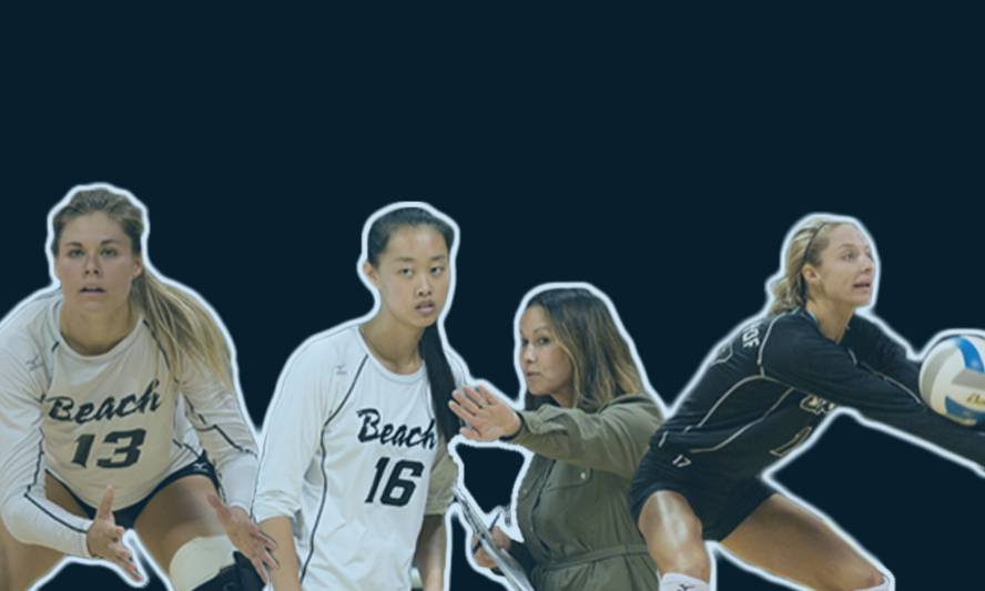 A collage of the woman's volleyball team players and coach.