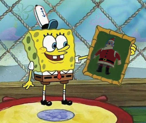 An image of Spongebob Squarepants holding a photo that has Futuram's robot Santa pasted on top.
