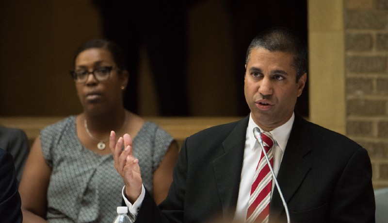 Chairman of the FCC, Ajit Pai, speaking at a meeting.