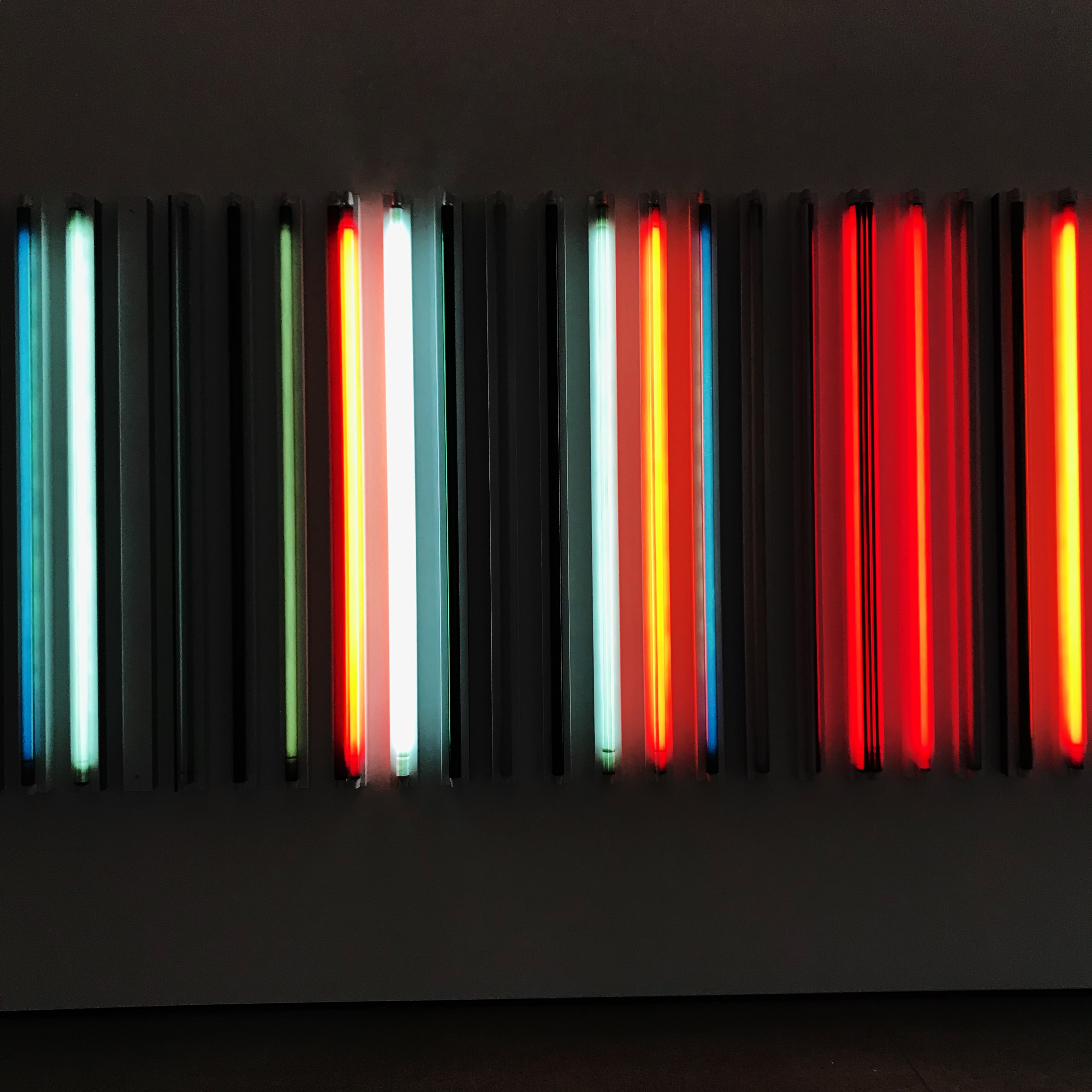 "A portion of Robert Irwin, ""Miracle Mile"" at the LACMA. The piece is comprised of fluorescent tubes in varying colors and brightnesses."