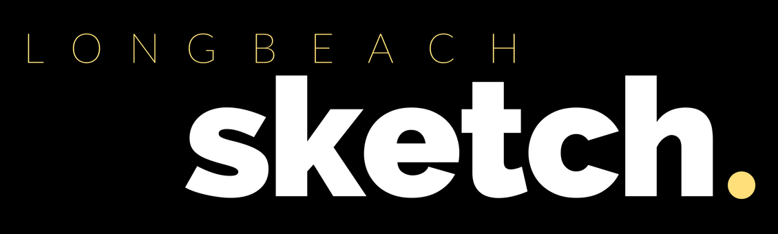Long Beach Sketch in white and yellow lettering on a black background