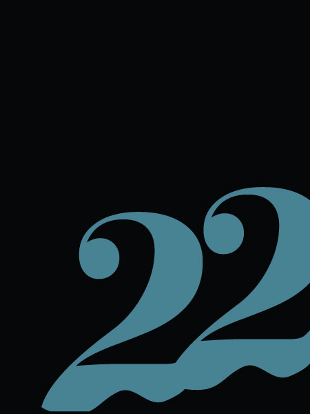 22 with blue lettering on a black background