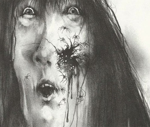 Drawing of scared woman with spiders coming out of her face
